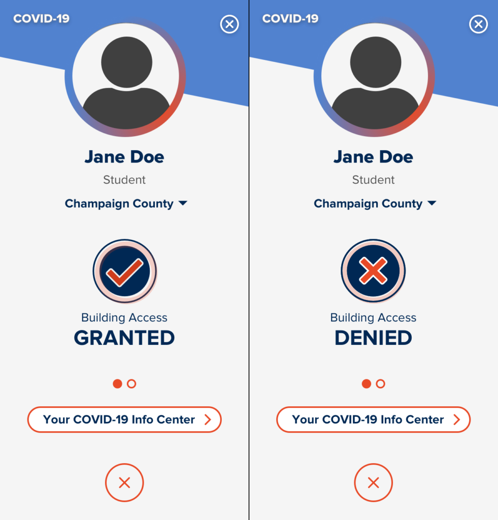 Two side by side screenshots comparing the Building Access Status display in the Safer Illinois app. One image shows Building Access Granted while the other shows Building Access Denied.
